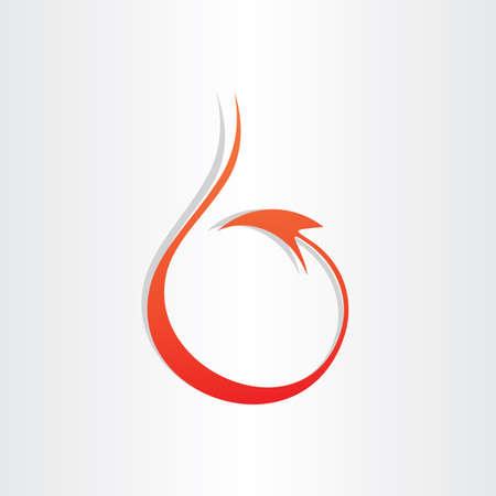 devil tail stylized icon red mascot symbol Illustration