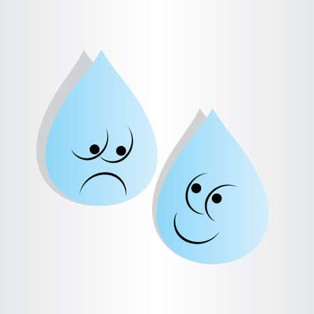 dismay: drops of  blue water sad worry and happy emotion cartoon