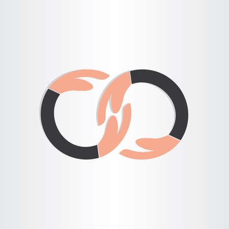 infinity symbol with human hands infinity help icon people team partnership connect deal