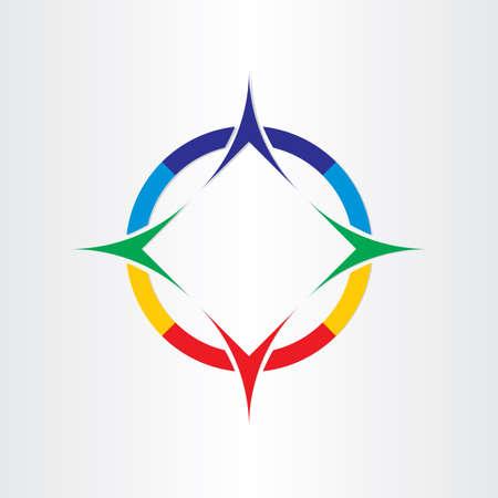 rosa dei venti: stilizzato quattro bussola icona del design di navigazione Vettoriali