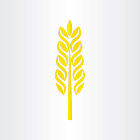 agrarian: yellow wheat grain crop stylized icon design Illustration