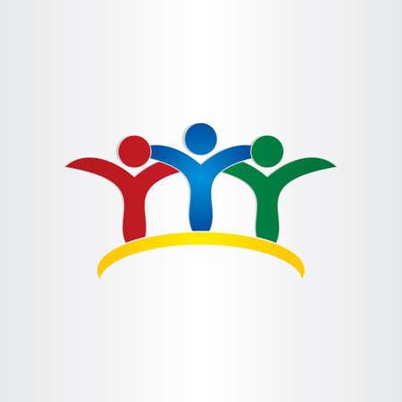 friends kids children friendship concept icon design