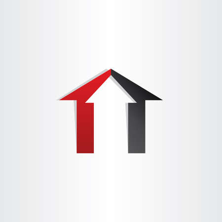 arrow home: home house icon with arrow up invest business sale Illustration