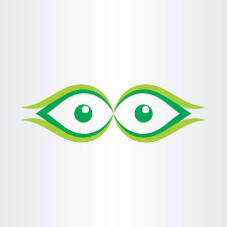 front view: human eyes stylized icon look green watching dot front view