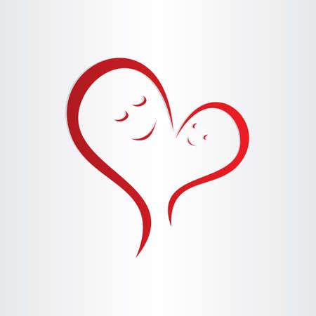 母親の愛のアイコン母親と赤ちゃんハート形接続