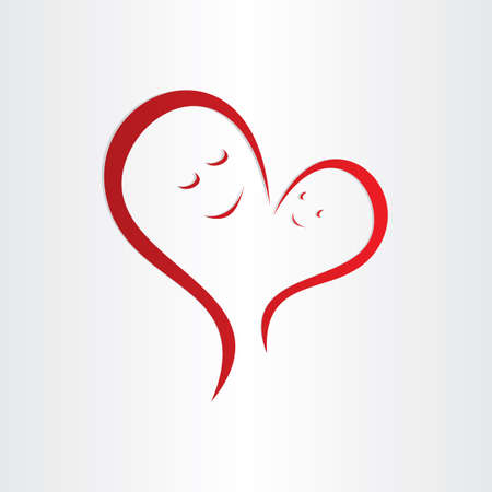 mothers love icon mother and baby heart shape connection