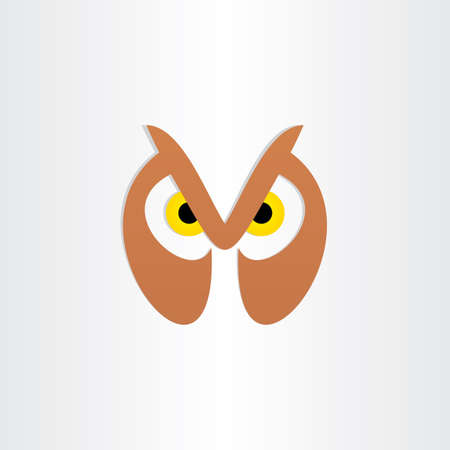 brown eyes: owl head icon design nature wildlife brown eyes zoo emblem background