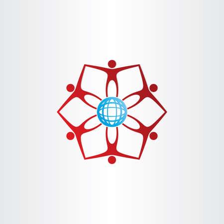 青い golbe ネットワーク接続アイコンの周りの人々  イラスト・ベクター素材