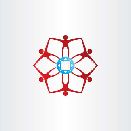 people around blue golbe network connection icon Illustration