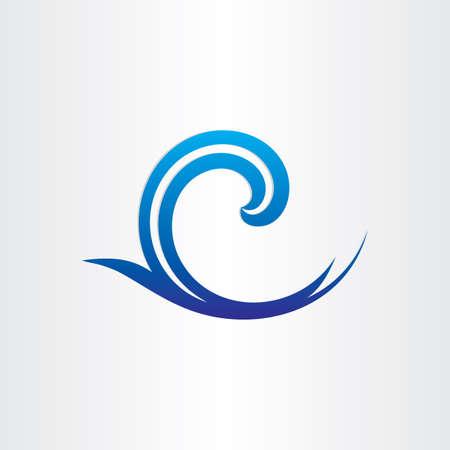 aqueous: mare o oceano blu onda icona astratto fresco bagnato simbolo sfondo