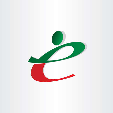 small letter e man icon red green
