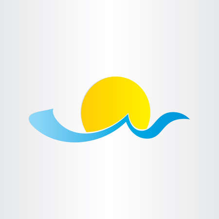 sea water: sun and sea wave summer water icon blue tropical tourism Illustration