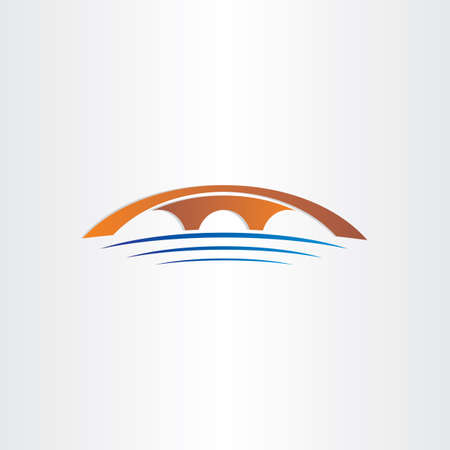 rivers: bridge and river stylized symbol design Illustration
