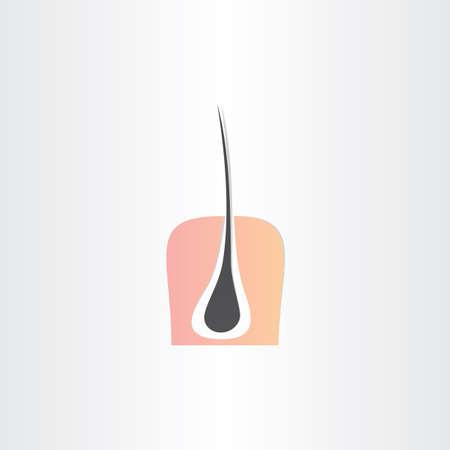 hair root strand and skin symbol design Vector