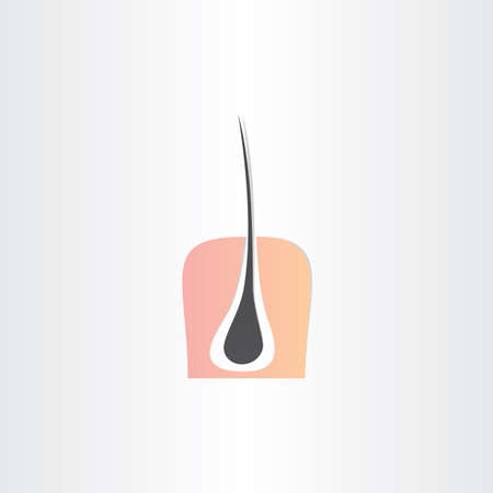 hair root strand and skin symbol design Illustration
