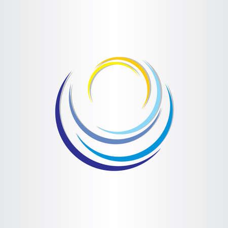 tourismus icon: Wasserwelle mit Sonnen Tourismus Icon Design