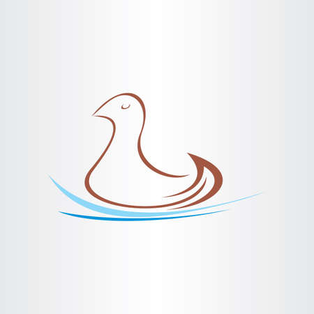 watter: stylized duck in watter design Illustration