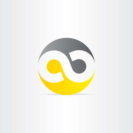 infinity symbol: black and yellow infinity symbol design element Illustration