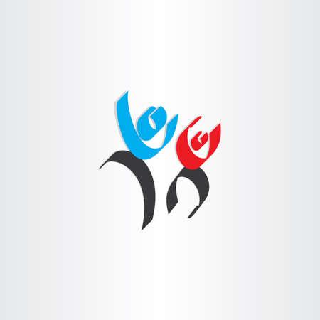 happy people: happy people men calligraphy icon design