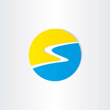 sun s: spiaggia estate e l'icona del sole disegno lettera s