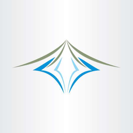 山と川や湖様式ラベルのサイン デザイン  イラスト・ベクター素材