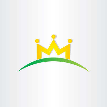 double letter m crown people icon design