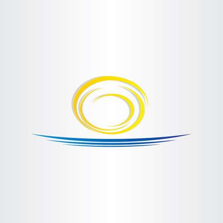logotipo turismo: sol y el icono del turismo de mar diseño