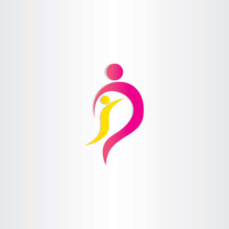 child protection: mother and child parent protection symbol design Stock Photo