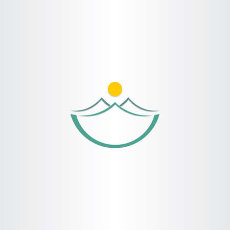 uphill: mountains and sun stilyzed landscape icon design