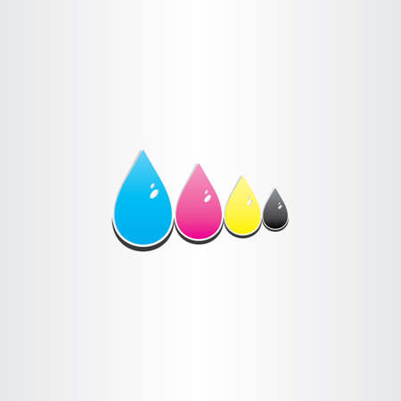 drops of cmyk ink printing symbol design Standard-Bild