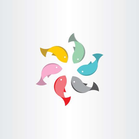 allied: fish in circle abstract vector symbol design