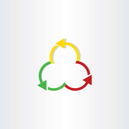 waste recovery: red green and yellow arrows recycling symbol design