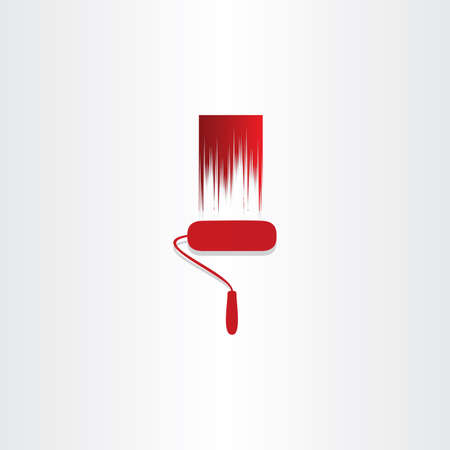 red paint roller abstract icon design Illustration