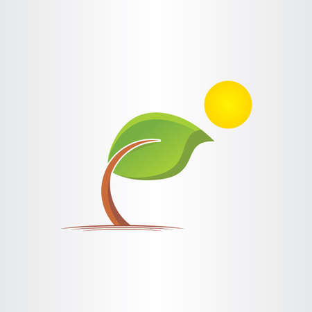 bended: 3d eco bended tree and sun icon design Illustration