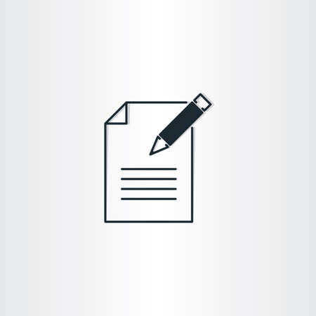 pen and paper: writing icon paper notebook and pen symbol design Illustration