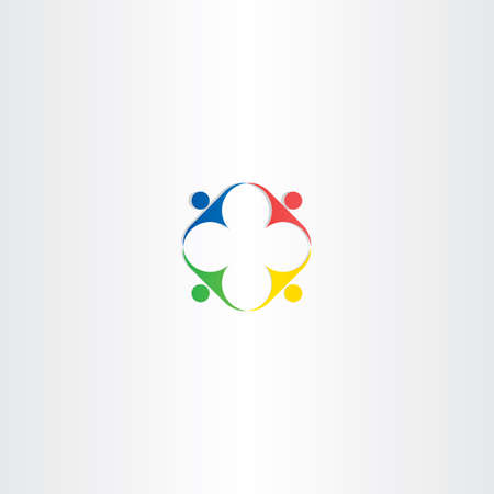 together voluntary: people teamwork square color icon design element