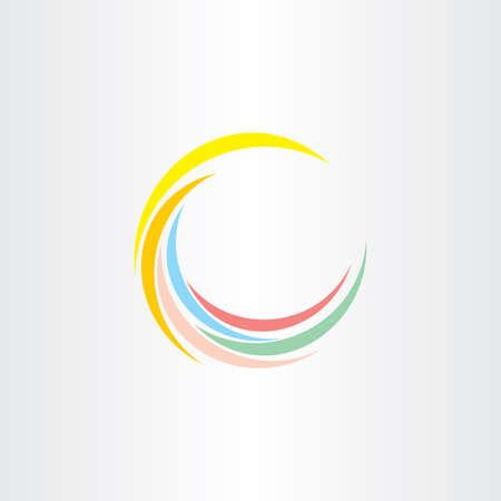 colorfull summer wave logo design element