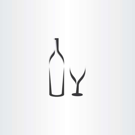 cabernet: wine bottle and glass symbol design