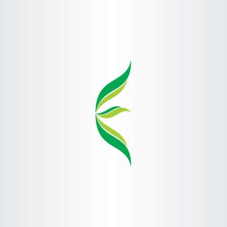 手紙 e 生態緑ロゴ葉デザイン  イラスト・ベクター素材
