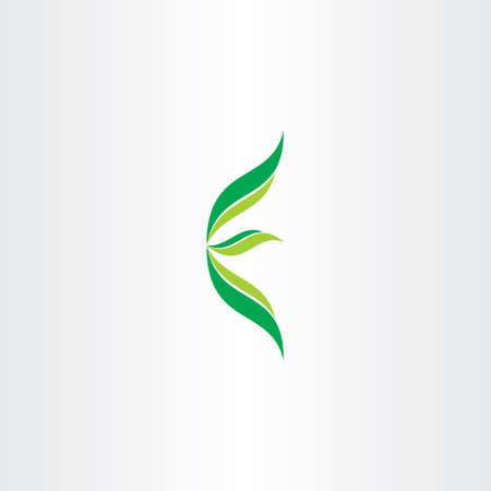 letter e ecology green logo with leaves design