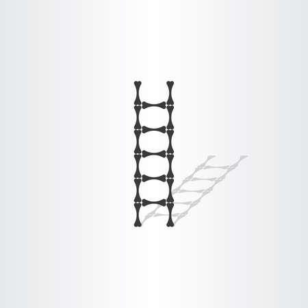 step ladder: step ladder with bones vector illustration design