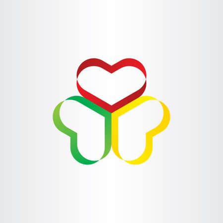colorful heart: colorful heart ribbon symbol design love