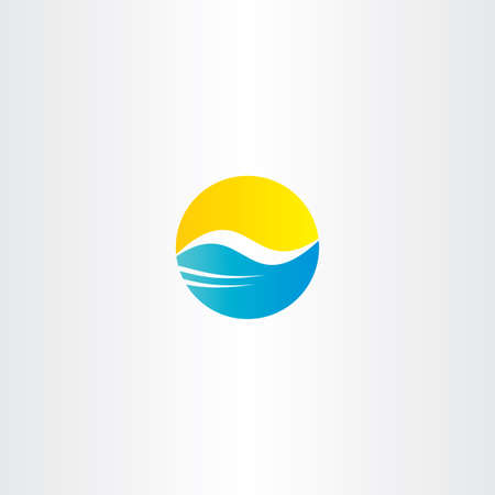 flowing water: water wave and sun vector tourism   element symbol