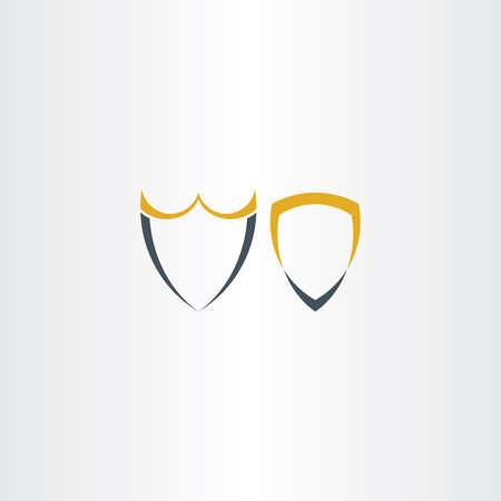 symbolics: two abstract stylized shield icons symbol