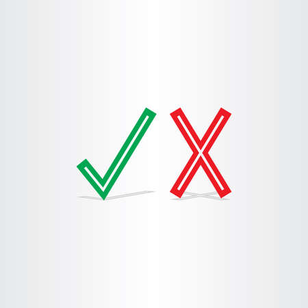 yes or no: check mark yes and no symbol design element sign