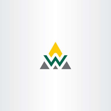 三角形のロゴ文字 w シンボル ベクトルのアイコン  イラスト・ベクター素材