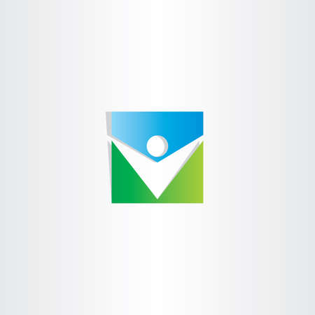 blue man: square icon green blue man vector design