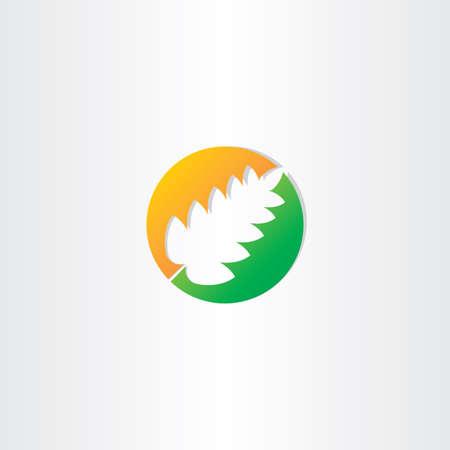 spring leaf: half autumn and half spring leaf icon emblem Illustration