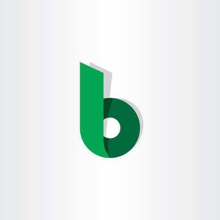 グリーン リボン手紙 b シンボル ロゴ デザイン  イラスト・ベクター素材
