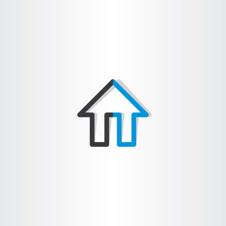 black and blue: black blue house line icon design Illustration